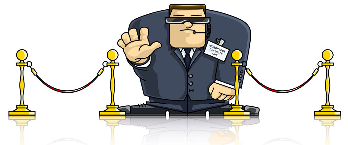 Cartoon of a security guy with his hand up, signalling 'stop'.